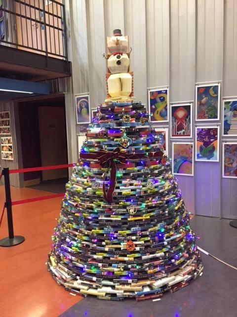 ImaginOn's Christmas tree made of books!